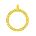 30mm Yellow Acrylic Floating Locket with Crystals and Matching Metal Ball Chain